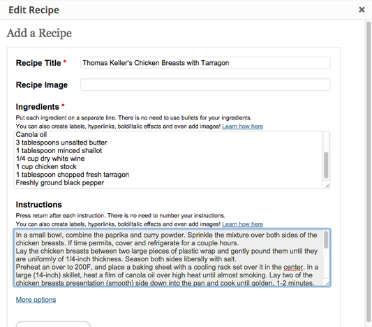 Meal Planner PRO Recipes add a recipe